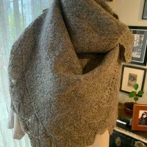 Gorgeous hand knit wool shawl.